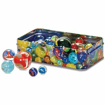 Traditional Set of 60 Glass Marbles in a Tin Gift Box - Colourful