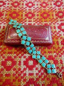 Beautiful Rare Art Deco Vintage 1930s Turquoise Green Enamel Bracelet Brass Chic