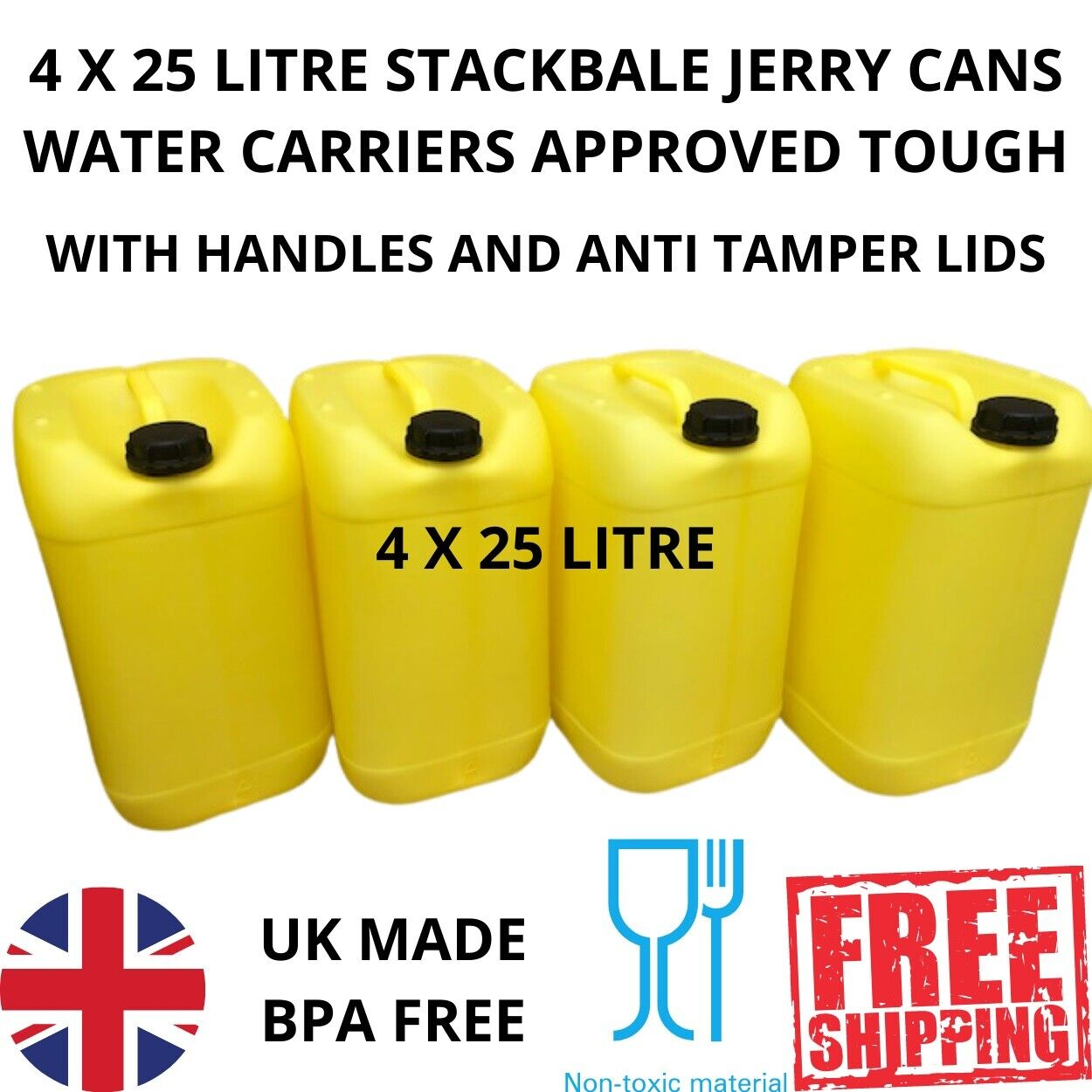 25 litre new plastic bottle jerry can water carrier approved tough yellow