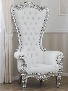 Poltrone In Plastica Stile Barocco.Poltrona Regina Stile Barocco Moderno Trono Foglia Argento