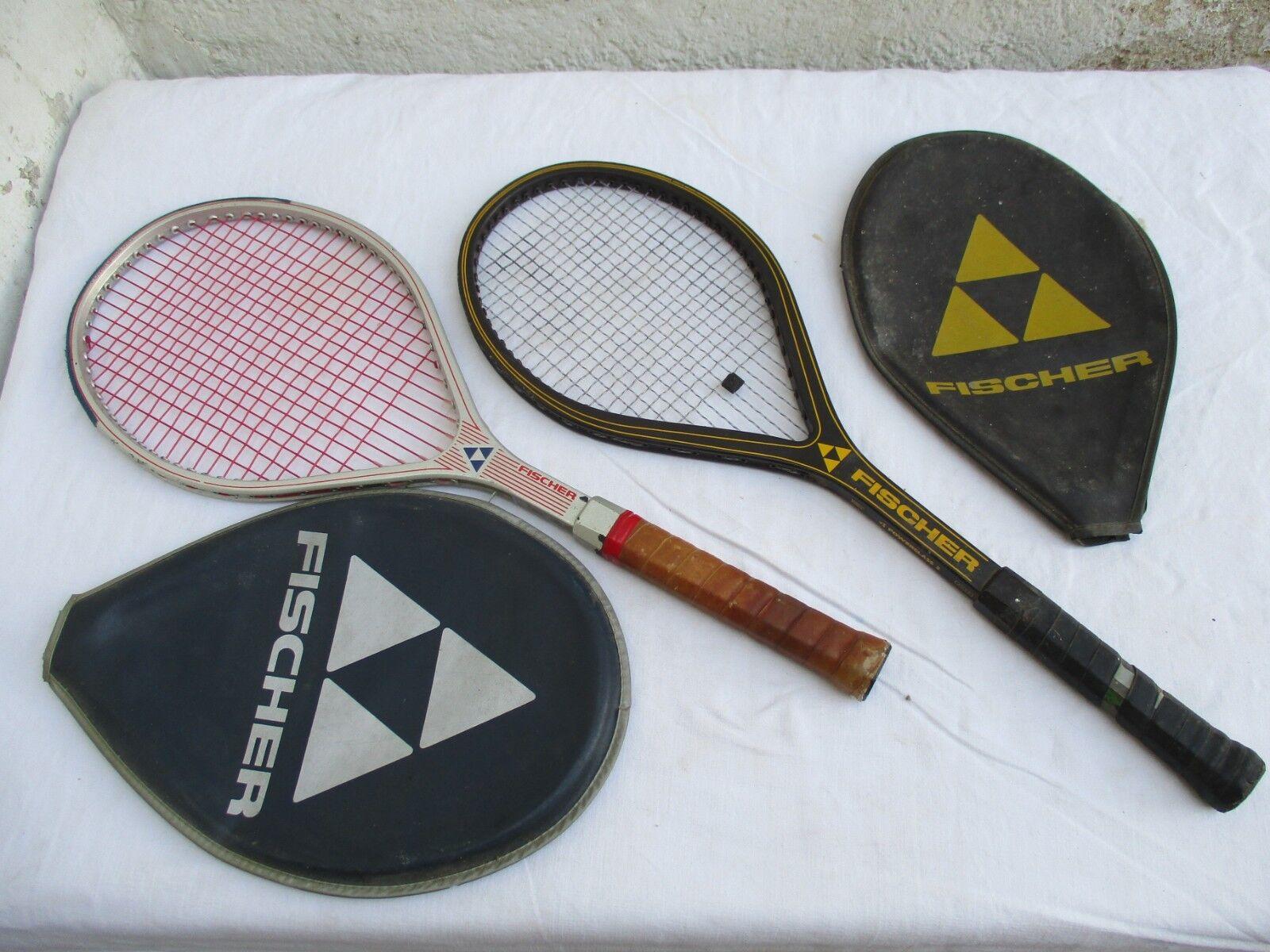 Vintage 2 raquettes de tennis Fischer Power class 2 et Power grass mid + housses