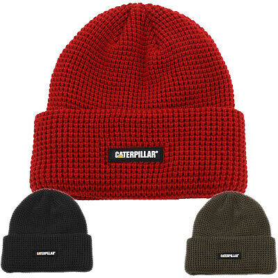 Mens CAT//Caterpillar Knitted Woolly Beanie Hat Red Grey One Size Acrylic