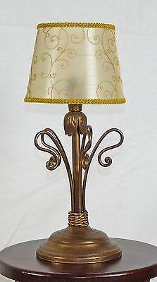 Lumen Antique Table Lamp Wrought Iron Rustic Shade Craft Art 670 Ebay