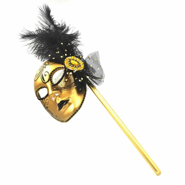 Femmes or Masque Vénitien Bouffon Masquerader Balle Déguisement Bâton Fête