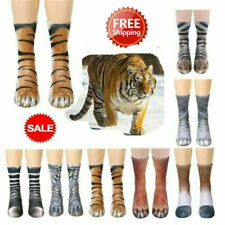 Womens Men Unisex Adult Animal Paw Feet Crew Socks Sublimated Print Cute 3D d6