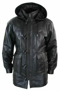 Mens-Leather-Jacket-Black-Detachable-Hooded-Duffel-RAF-Long-Coat-SS7