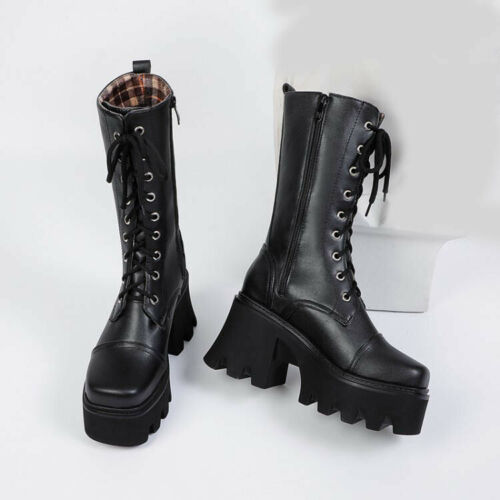Women/'s Punk Zip Chunky Block Heels Riding Boots Lace Up Platform Mid Calf Boots
