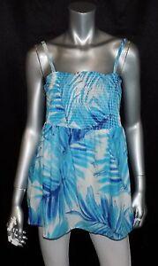 LANE-BRYANT-NEW-Blue-White-Print-Spaghetti-Strap-Smocked-Babydoll-Shirt-sz-16
