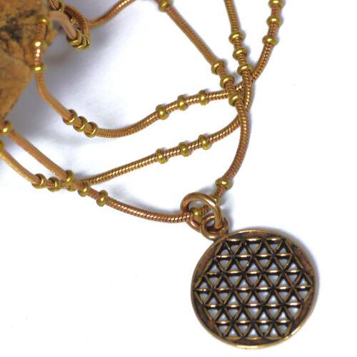 kleine  Blume des Lebens mit edler Bronze Kette L 45 HARMONIE KRAFT Bronzekette
