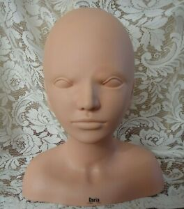 Burmax Daria Esthetics Mannequin Head Shoulders - Hat Stand/Wig Stand -- Make up