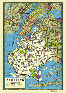 Brooklyn new york 1949 map poster vintage prospect park for Art and craft store in brooklyn ny