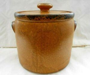Vintage-McCoy-Pottery-Large-Bean-Pot-1424-Stoneware-4-Quart-Crock-w-Lid-7-034-w2s3