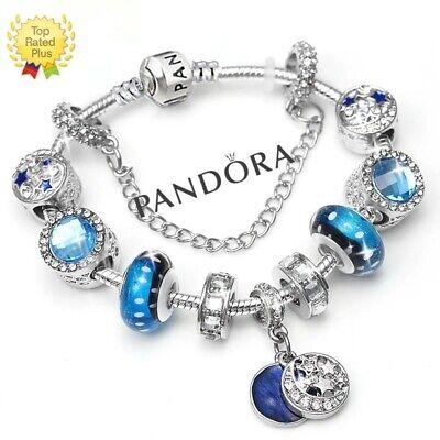 Authentic Pandora Charm Bracelet Silver Blue Love Star With European Charms Ebay