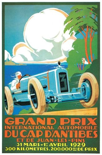 Grand Prix Auto Racing Vintage Car Poster 1929 Canvas Giclee Print 24x36 in.