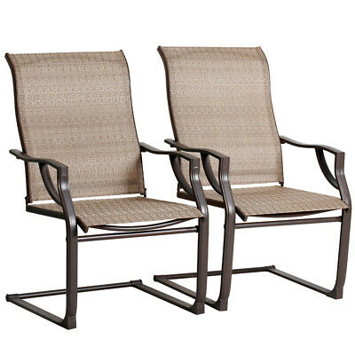 Bali Outdoor All Weather Spring Motion Teslin Patio Dining Chairs Set of 2 Lawn | eBay