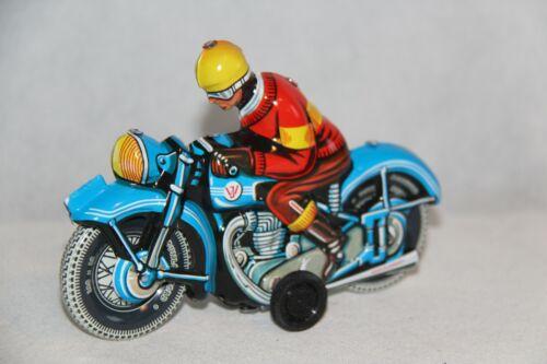 Blechspielzeug Wilesco Blechspielzeug Motorradfahrer blau mit Friktionsantrieb