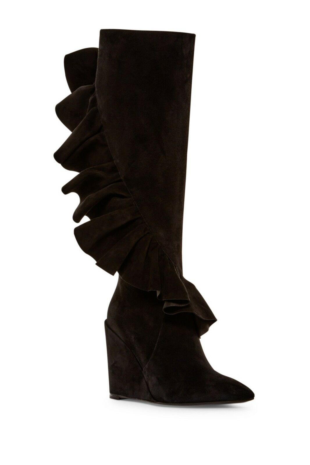 1295 J.W.Anderson Black Suede Tall Ruffles Knee Boots Wedge Booties 38