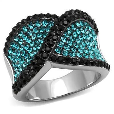 Brilliant Top Grade Blue Zircon Crystal Cocktail Fashion Ring 5 - 10 TK2764