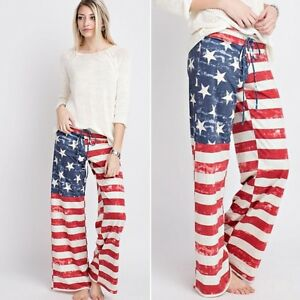 Flag Couture Ny French Pants L Rød Terry Hvid Kvinders American Blå M S wpqdXxpAg