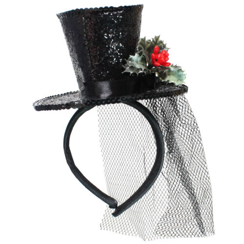 Donna Nero Glitter Mini Top Hat Fascia per capelli con Holly Natale Natale Costume