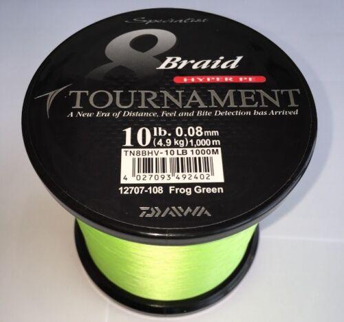 Daiwa Tournament 8x Braid chartreuse 0,08mm 4,9kg 1000m Geflochtene Schnur