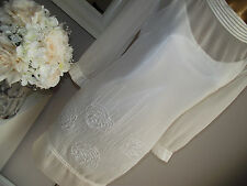 MONSOON IVORY FLORAL ROSE SEQUIN BEAD EMBELLISHED BRIDAL WEDDING TUNIC DRESS 14