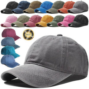 Plain-Washed-Cap-Polo-Style-Cotton-Adjustable-Baseball-Cap-Blank-Solid-Hat-USA