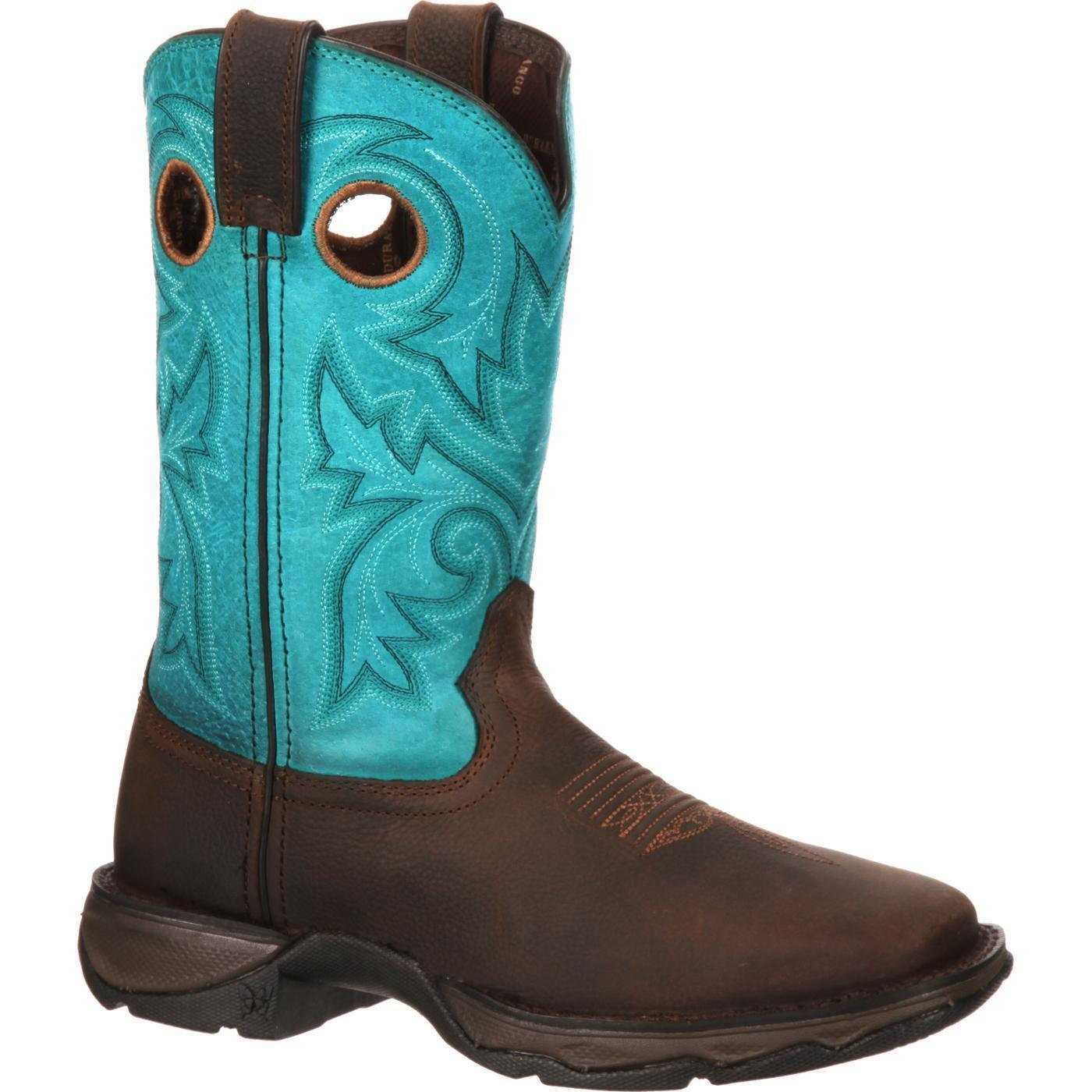 Durango DWRD016 12    Lady Rebel Bar None Teal Slip Resistant Cowgirl Western Boot 0ab445