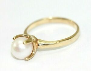 Vintage 10K YELLOW GOLD, PEARL, 4-Prong Setting Womens Ring: Size 6, 2.4 Grams