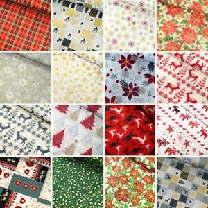 100% Cotton Fabric Christmas Traditional Collection Holly Festive 135cm Wide