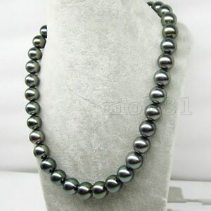 Rare-Huge-14mm-Genuine-Black-South-Sea-Shell-Pearl-Round-Beads-Necklace-18-039-039-AAA