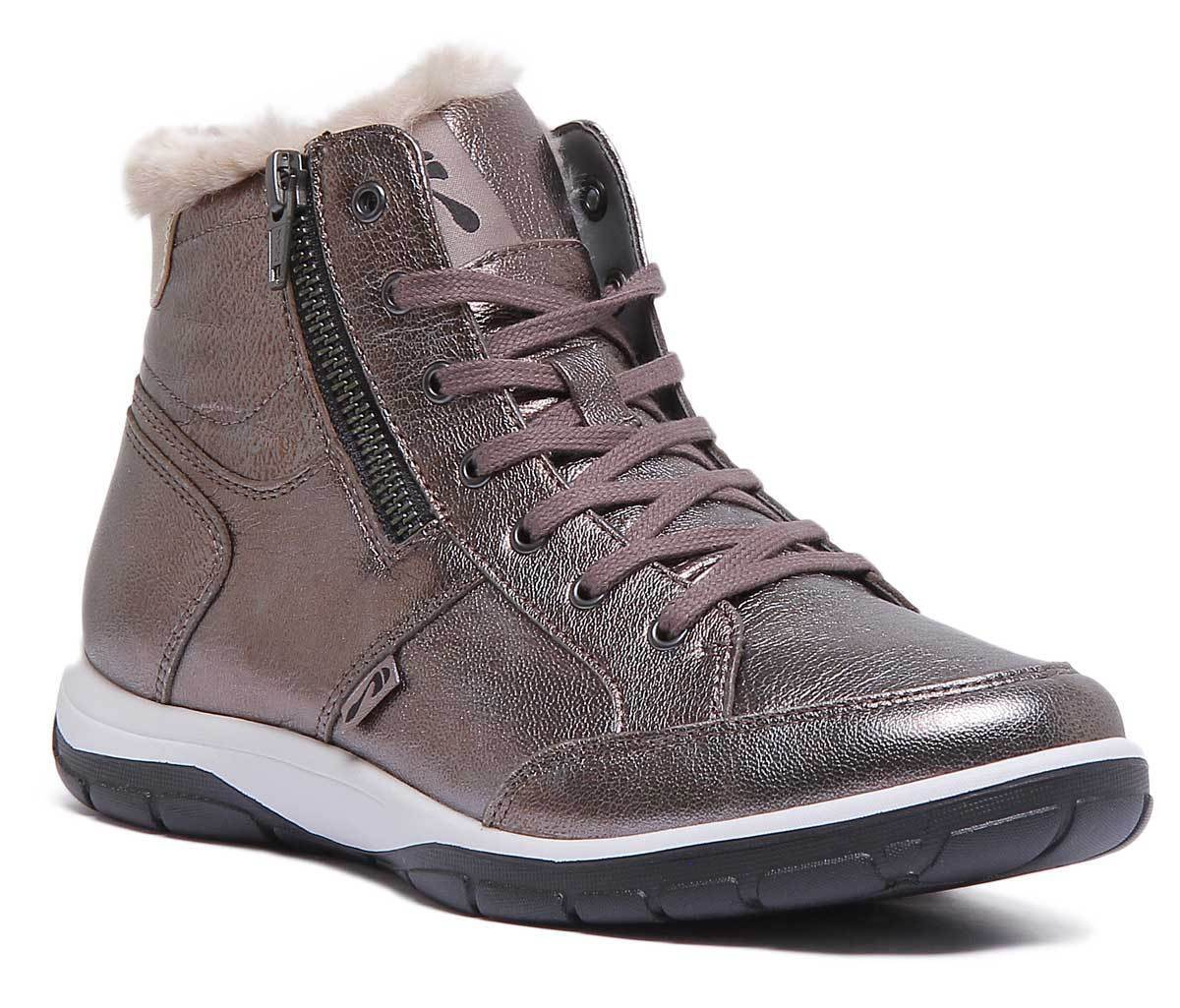 Strive Chatsworth Womens Antracite Leather Matt Ankle Boots UK Size 3 - 8