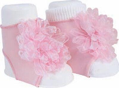 NWT Baby Deer Ribbon Blooms Peep Toe Socks Booties Newborn 0 3 White Pink Girls