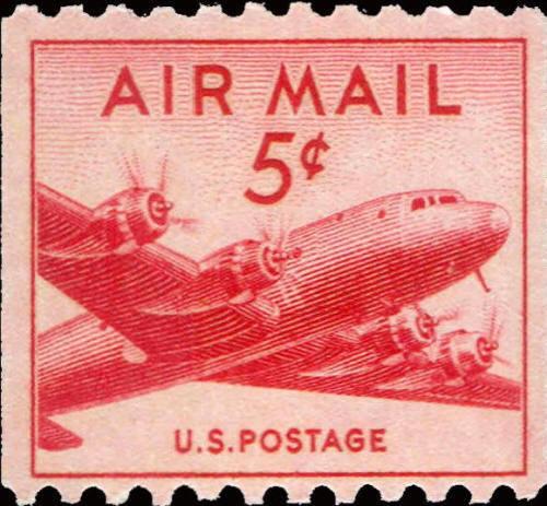 1948 5c Small Plane, Coil Air Mail Scott C37 Mint F/VF