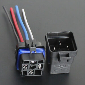 Car-Truck-12V-40A-SPST-Relay-Socket-Plug-4Pin-4-Wire-Waterproof-Seal-Sales
