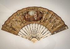 Superbe éventail peint à la gouache et brodé, époque Louis XVI, fin du XVIII ème