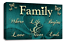 Family Quote Art Picture Teal Cream Love Home Canvas Wall Print