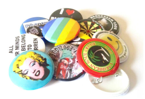 50 x  25mm GIFTS CUSTOM BUTTON PIN BADGES PERSONALISED WITH YOU OWN DESIGN