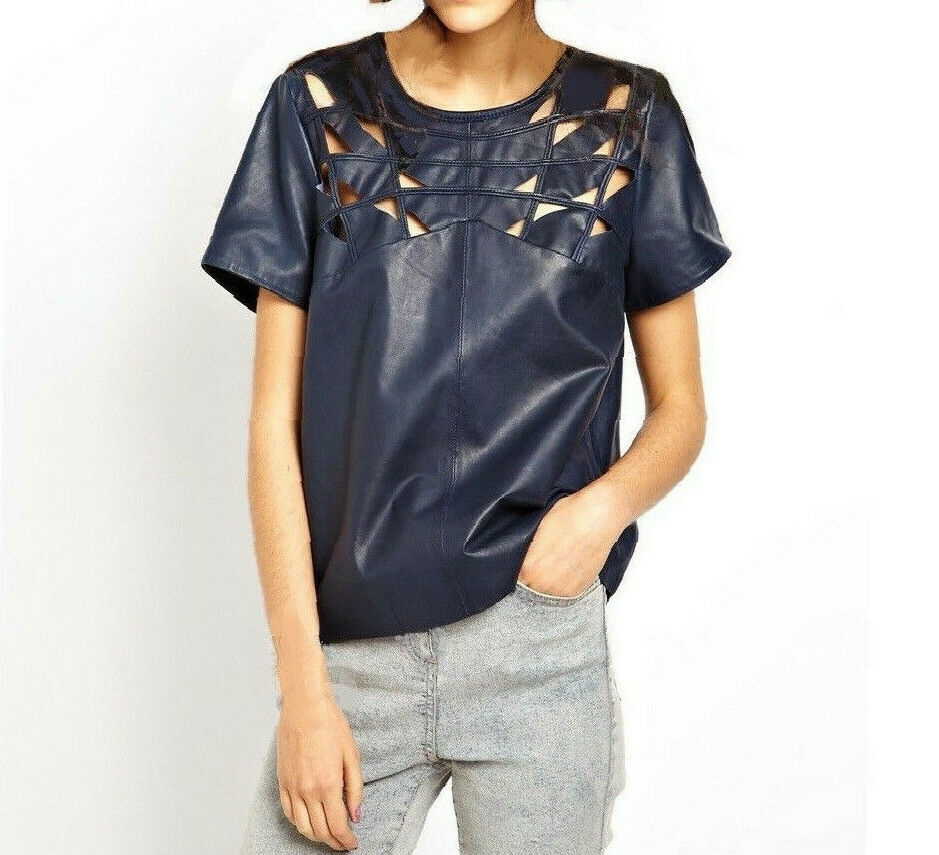 NWT Designer Soft Premium Genuine LEATHER Lattice Panel Top French Navy by asos