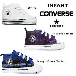 529da6c51f5 Converse All Star Tartan Baby Crib Boy Girl Infant Trainer Soft Sole ...