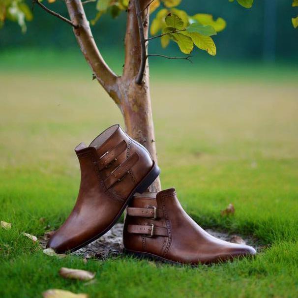 Hecho A Mano De Cuero Genuino Marrón Chelsea para hombre correa de tobillo botas Altas Suela
