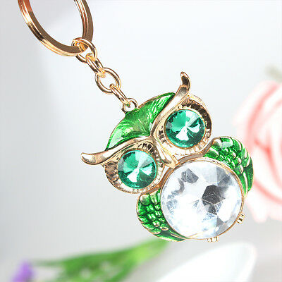 Lovely Owl Green Pendant Charm Rhinestone Crystal Purse Bag Key Ring Chain Gift