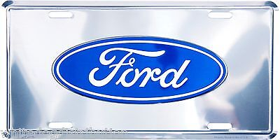 """Ford Oval Logo Chrome 6/"""" x 12/"""" Embossed Metal License Plate Tag"""