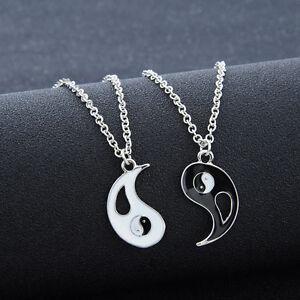 Chic-1-Set-2-PCS-Best-Friends-Ying-Yang-Taiji-Bagua-Pendant-Chain-Necklaces-New