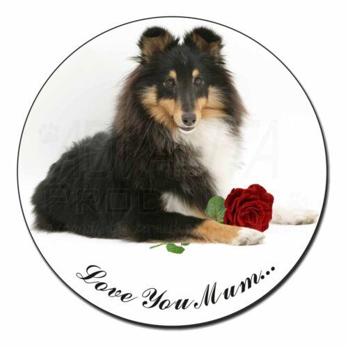 Sheltie+Rose /'Love You Mum/' Fridge Magnet Stocking Filler Christma AD-SE1RlymFM
