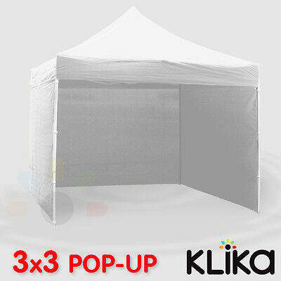 WHITE 3x3 WALLAROO POP UP OUTDOOR GAZEBO FOLDING TENT PARTY MARQUEE SHADE CANOPY