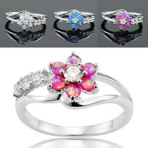 Women-Flower-White-Fire-Opal-Rings-Silver-Gemstone-Jewelry-Ring-Band-Size-6-10