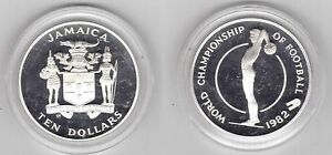 JAMAICA-SILVER-PROOF-10-COIN-1982-YEAR-KM-98-SPAIN-FIFA-WORLD-CUP-1982
