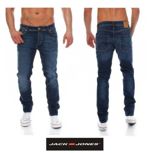 Jack /& Jones Mens New Tim 012 Original Slim Fit Jeans Dark Used Look BNWT