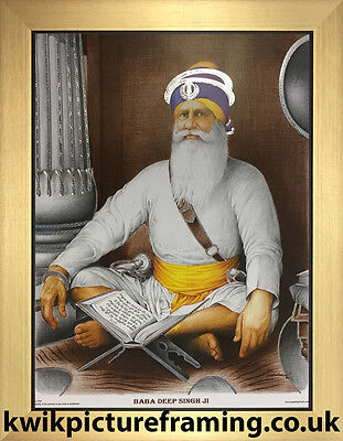"Baba Deep Singh Ji  In Size 12/"" x 9/"" InchesChoices Of Colour For Frame"
